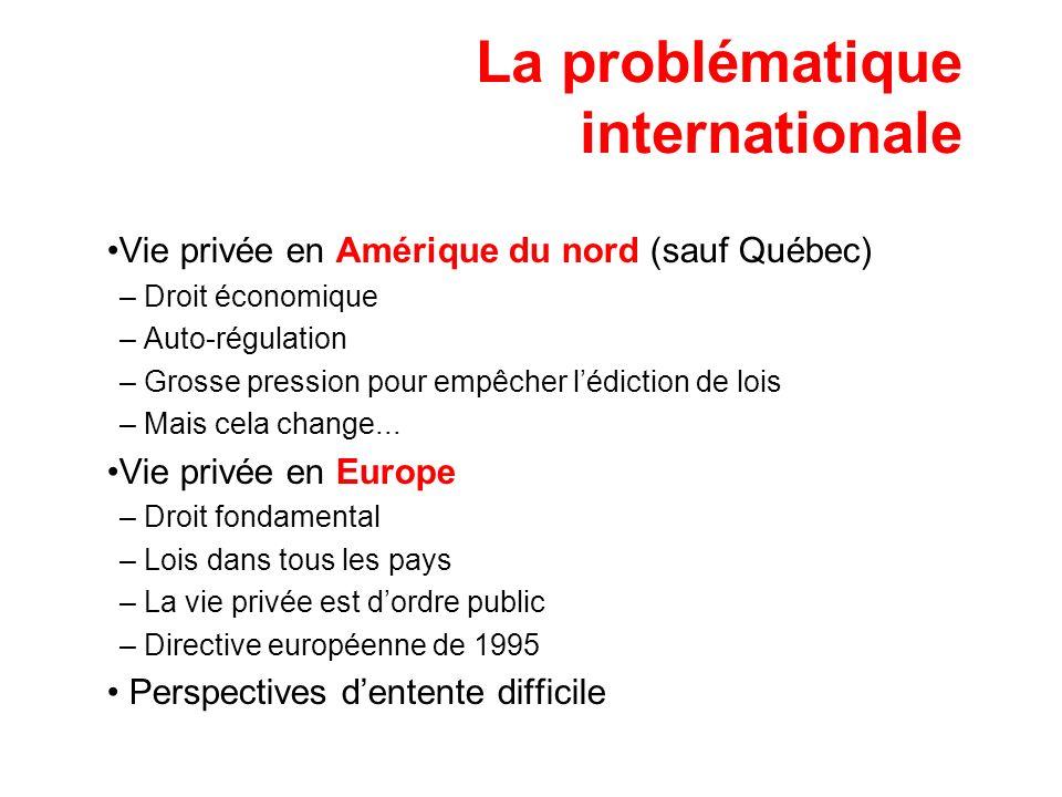 La problématique internationale Vie privée en Amérique du nord (sauf Québec) – Droit économique – Auto-régulation – Grosse pression pour empêcher lédi
