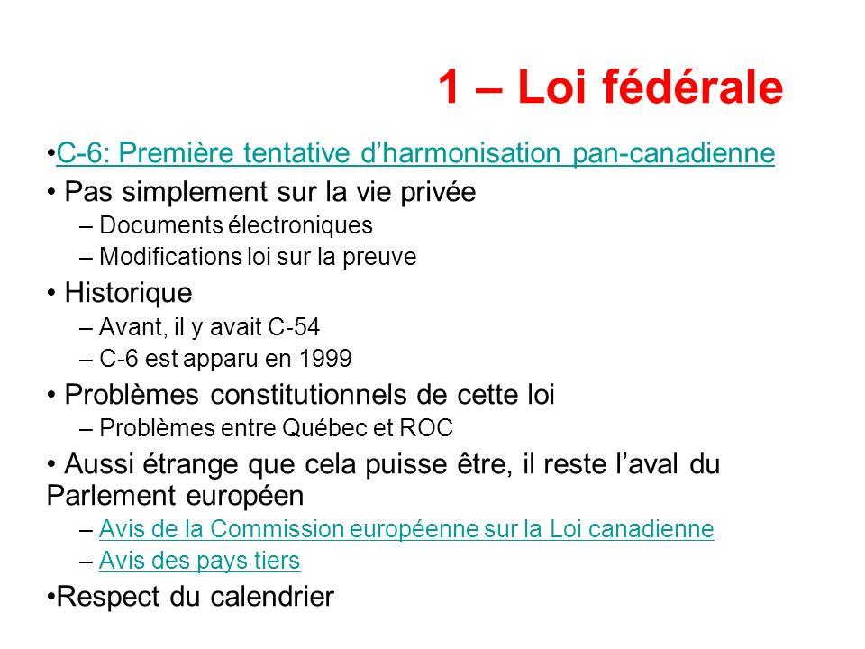1 – Loi fédérale C-6: Première tentative dharmonisation pan-canadienne Pas simplement sur la vie privée – Documents électroniques – Modifications loi