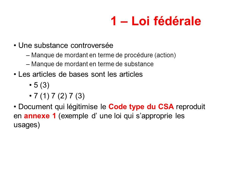 1 – Loi fédérale Une substance controversée – Manque de mordant en terme de procédure (action) – Manque de mordant en terme de substance Les articles