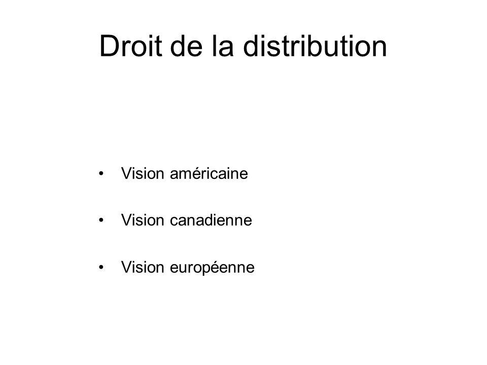 Droit de la distribution Vision américaine Vision canadienne Vision européenne