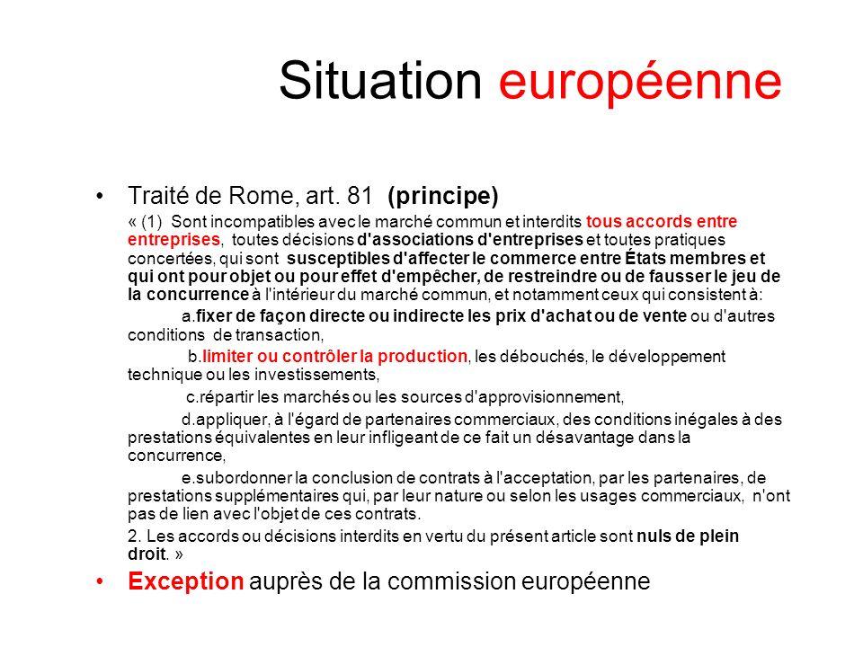 Situation européenne Traité de Rome, art.