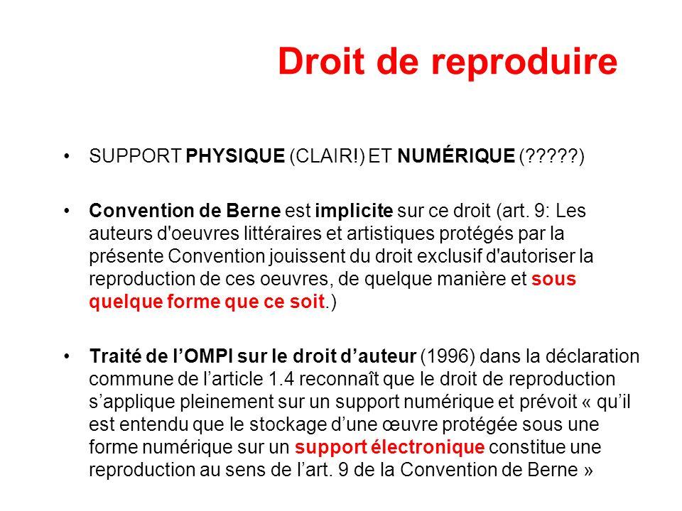 Droit de reproduire SUPPORT PHYSIQUE (CLAIR!) ET NUMÉRIQUE (?????) Convention de Berne est implicite sur ce droit (art. 9: Les auteurs d'oeuvres litté