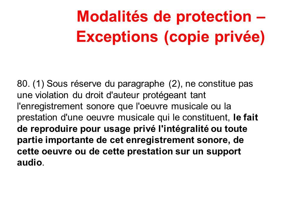 Modalités de protection – Exceptions (copie privée) 80. (1) Sous réserve du paragraphe (2), ne constitue pas une violation du droit d'auteur protégean