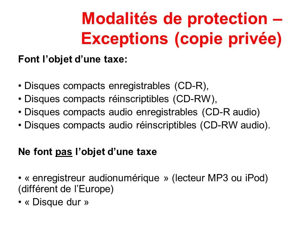 Modalités de protection – Exceptions (copie privée) Font lobjet dune taxe: Disques compacts enregistrables (CD-R), Disques compacts réinscriptibles (C