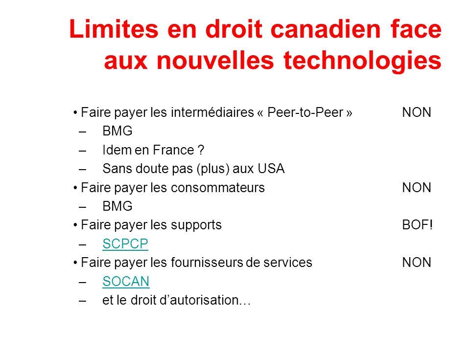 Limites en droit canadien face aux nouvelles technologies Faire payer les intermédiaires « Peer-to-Peer »NON –BMG –Idem en France ? –Sans doute pas (p