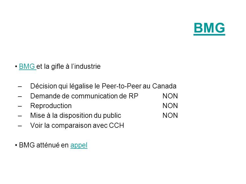 BMG BMG et la gifle à lindustrieBMG –Décision qui légalise le Peer-to-Peer au Canada –Demande de communication de RPNON –Reproduction NON –Mise à la d