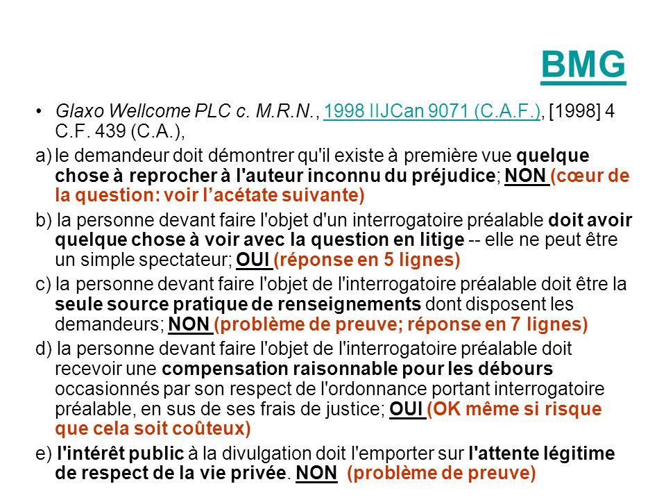 BMG Glaxo Wellcome PLC c. M.R.N., 1998 IIJCan 9071 (C.A.F.), [1998] 4 C.F. 439 (C.A.),1998 IIJCan 9071 (C.A.F.) a)le demandeur doit démontrer qu'il ex