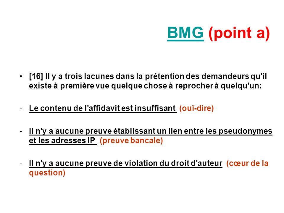 BMGBMG (point a) [16] Il y a trois lacunes dans la prétention des demandeurs qu'il existe à première vue quelque chose à reprocher à quelqu'un: -Le co