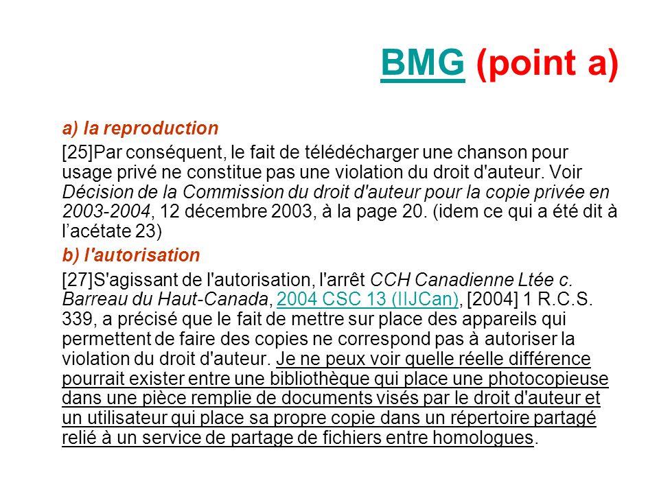 BMGBMG (point a) a) la reproduction [25]Par conséquent, le fait de télédécharger une chanson pour usage privé ne constitue pas une violation du droit