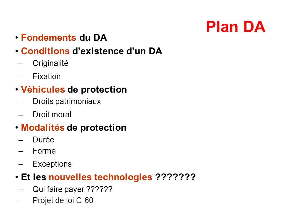 Plan DA Fondements du DA Conditions dexistence dun DA –Originalité –Fixation Véhicules de protection –Droits patrimoniaux –Droit moral Modalités de pr