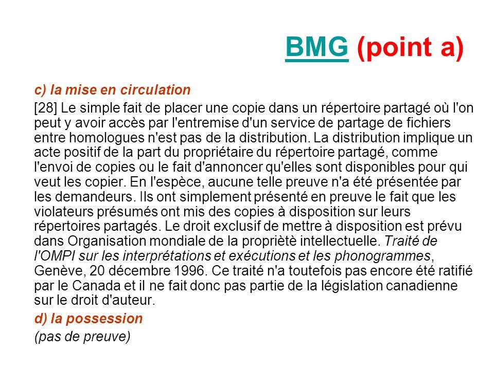 BMGBMG (point a) c) la mise en circulation [28] Le simple fait de placer une copie dans un répertoire partagé où l'on peut y avoir accès par l'entremi