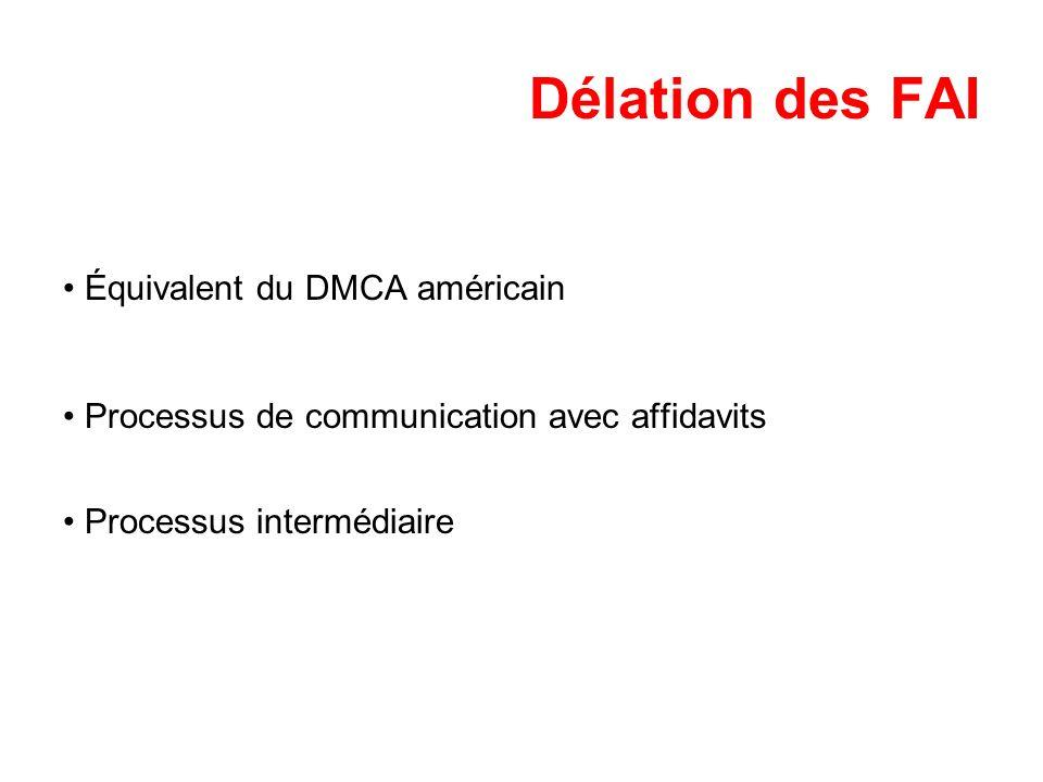 Délation des FAI Équivalent du DMCA américain Processus de communication avec affidavits Processus intermédiaire