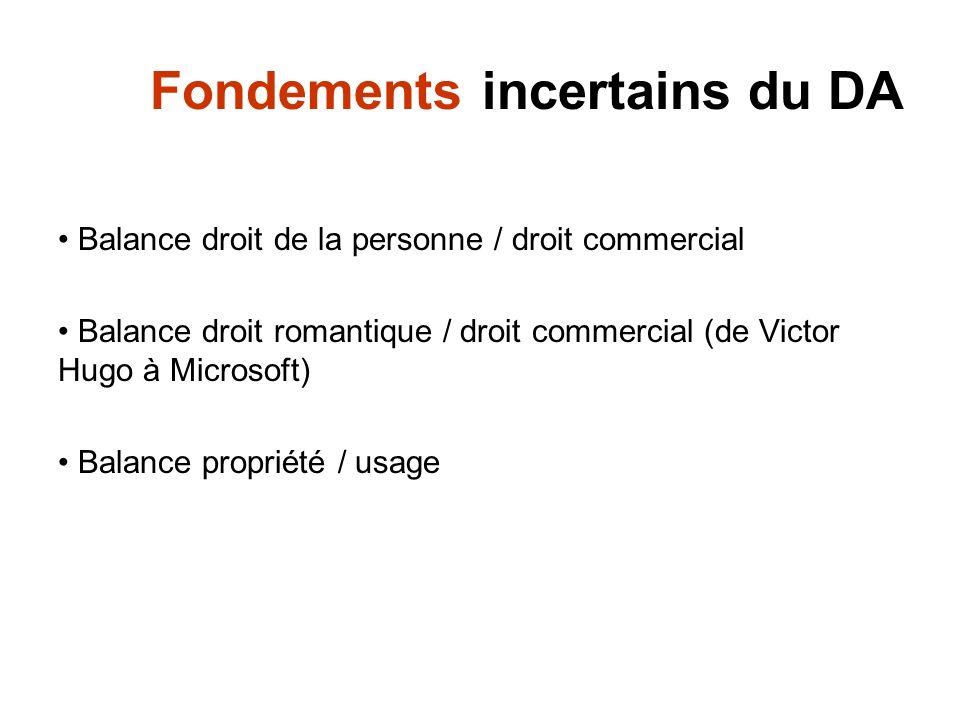 Fondements incertains du DA Balance droit de la personne / droit commercial Balance droit romantique / droit commercial (de Victor Hugo à Microsoft) B