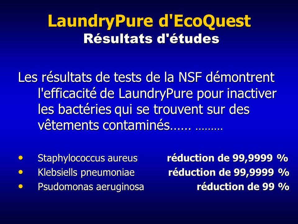 LaundryPure d'EcoQuest Les avantages Augmentation de la durée de vie des tissus Augmentation de la durée de vie des tissus Réduction du nombre de bact