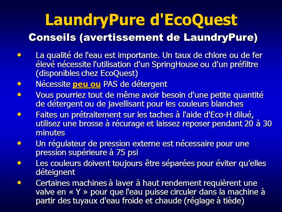 LaundryPure d'EcoQuest Résultats d'études Les résultats de tests de la NSF démontrent l'efficacité de LaundryPure pour inactiver les bactéries qui se