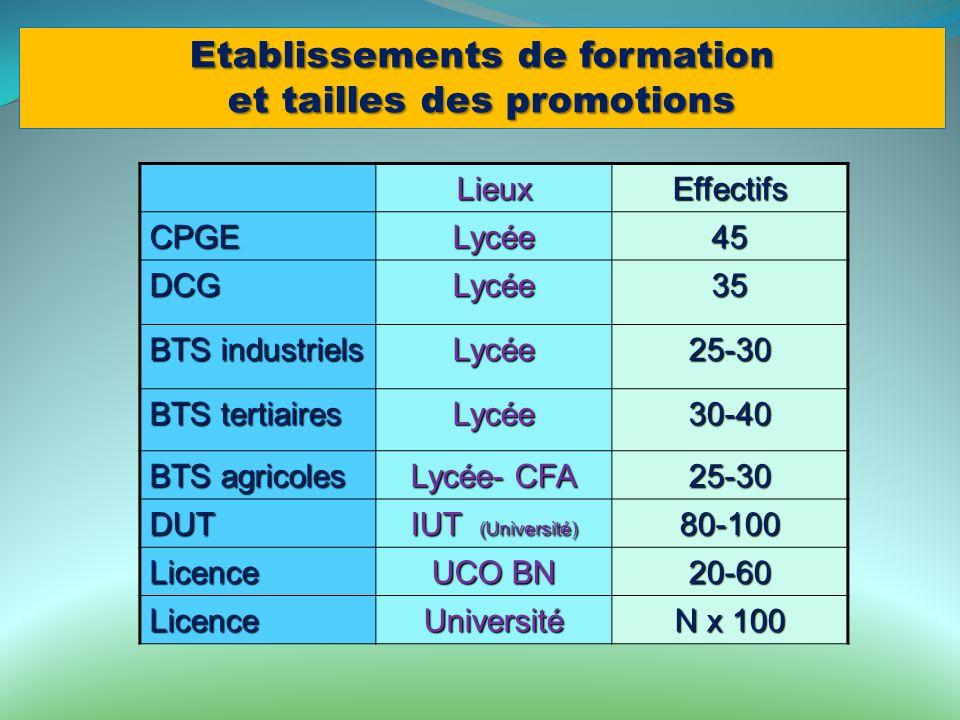 Etablissements de formation et tailles des promotions LieuxEffectifs CPGELycée45 DCGLycée35 BTS industriels Lycée25-30 BTS tertiaires Lycée30-40 BTS a