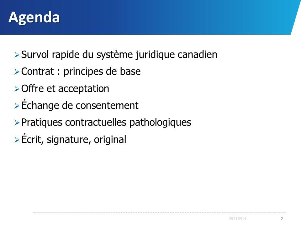 Agenda Survol rapide du système juridique canadien Contrat : principes de base Offre et acceptation Échange de consentement Pratiques contractuelles p