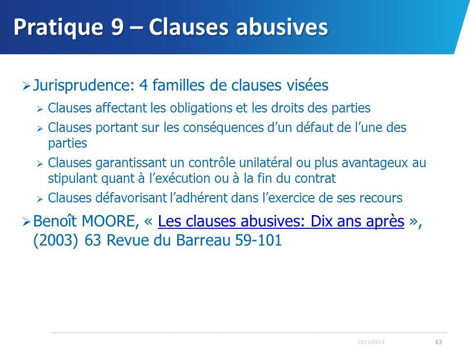 Pratique 9 – Clauses abusives Jurisprudence: 4 familles de clauses visées Clauses affectant les obligations et les droits des parties Clauses portant