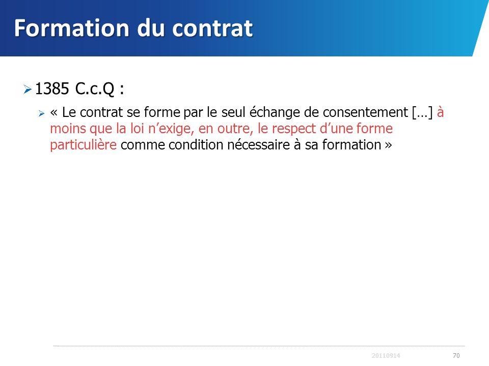 Formation du contrat 1385 C.c.Q : « Le contrat se forme par le seul échange de consentement […] à moins que la loi nexige, en outre, le respect dune f