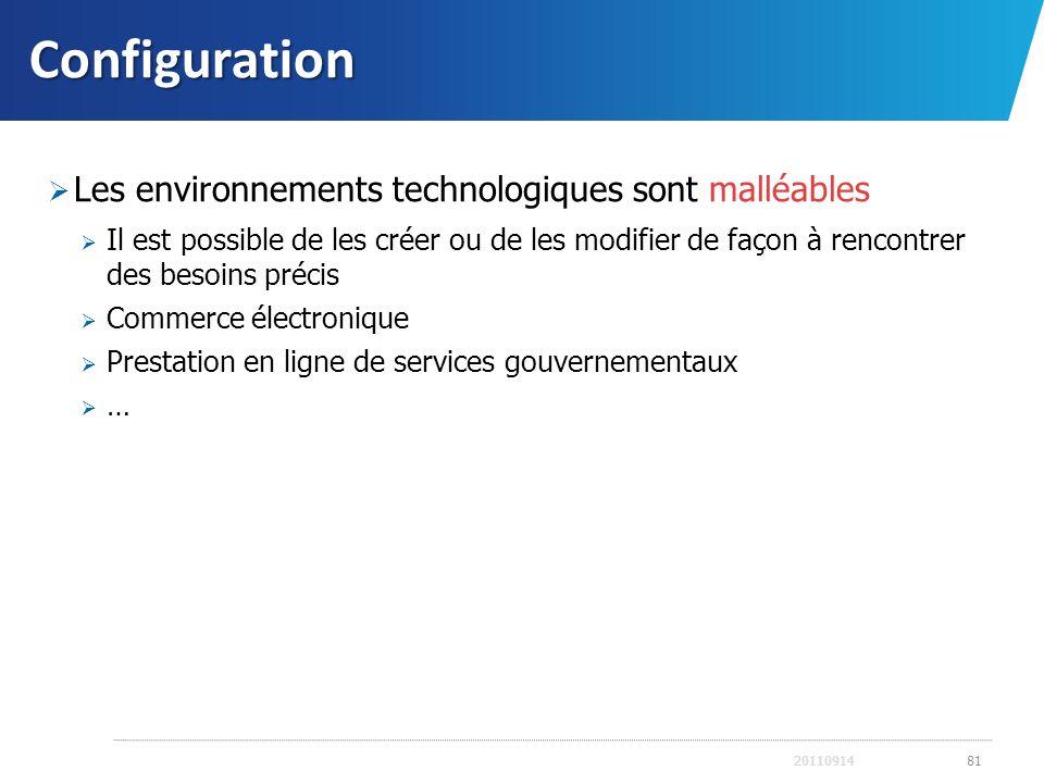 Configuration Les environnements technologiques sont malléables Il est possible de les créer ou de les modifier de façon à rencontrer des besoins préc