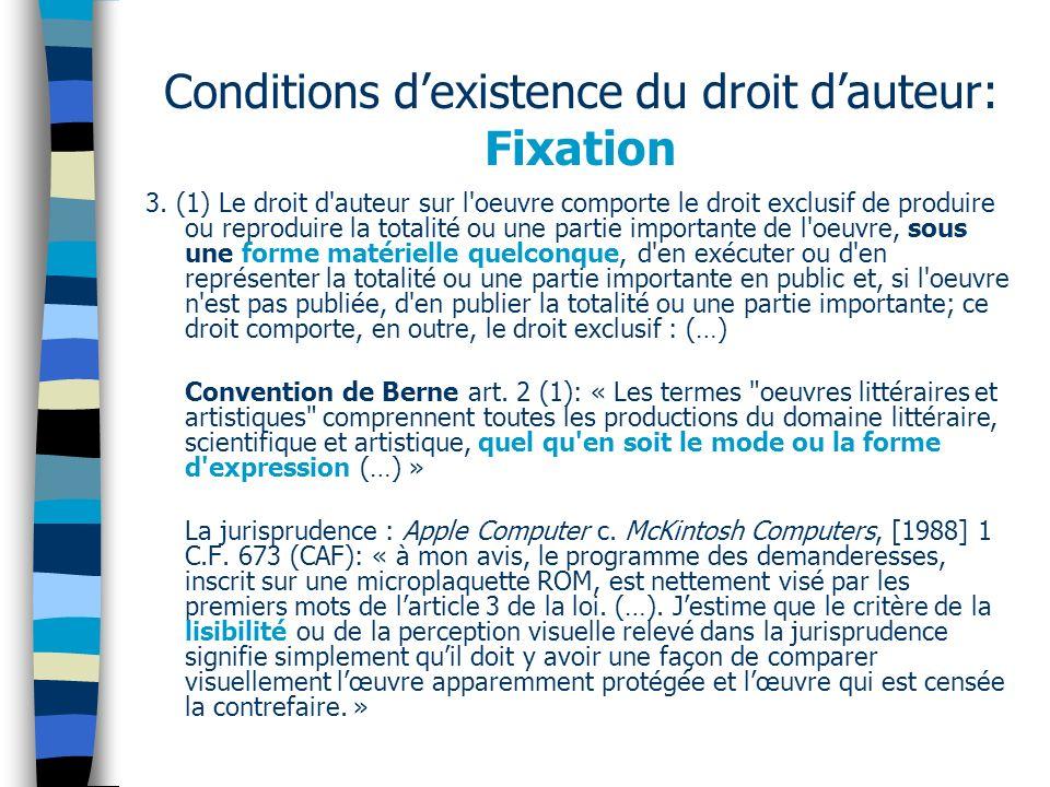 Conditions dexistence du droit dauteur: Fixation 3.