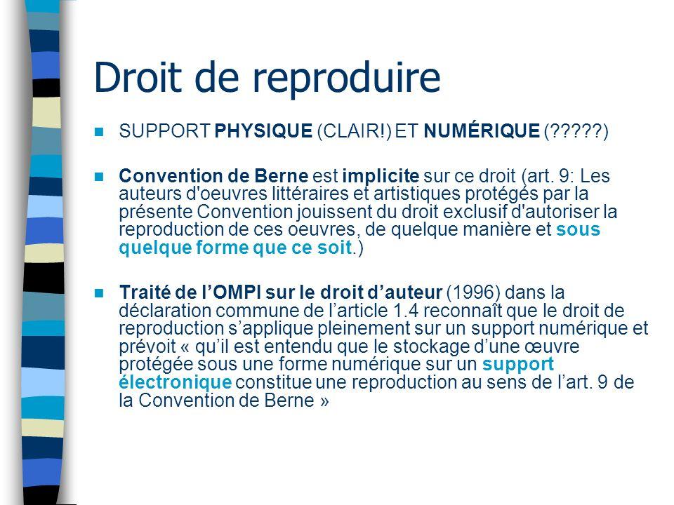 Droit de reproduire SUPPORT PHYSIQUE (CLAIR!) ET NUMÉRIQUE (?????) Convention de Berne est implicite sur ce droit (art.