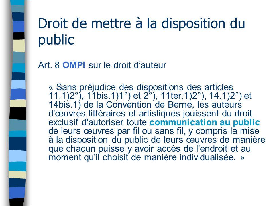 Droit de mettre à la disposition du public Art.