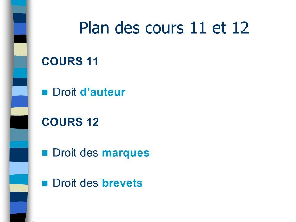Plan des cours 11 et 12 COURS 11 Droit dauteur COURS 12 Droit des marques Droit des brevets