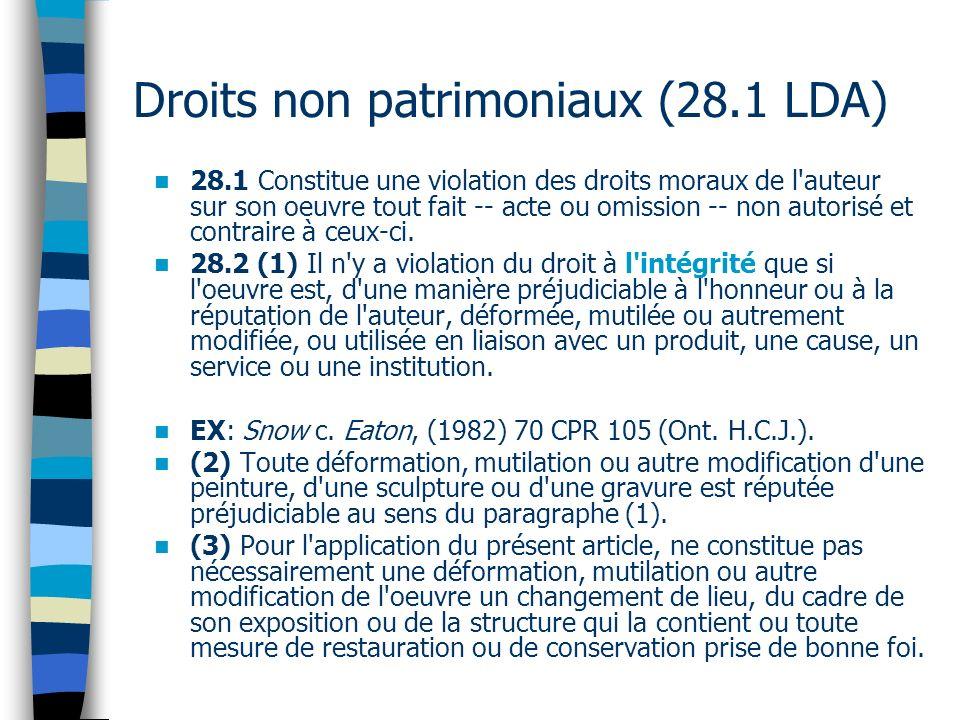 28.1 Constitue une violation des droits moraux de l auteur sur son oeuvre tout fait -- acte ou omission -- non autorisé et contraire à ceux-ci.