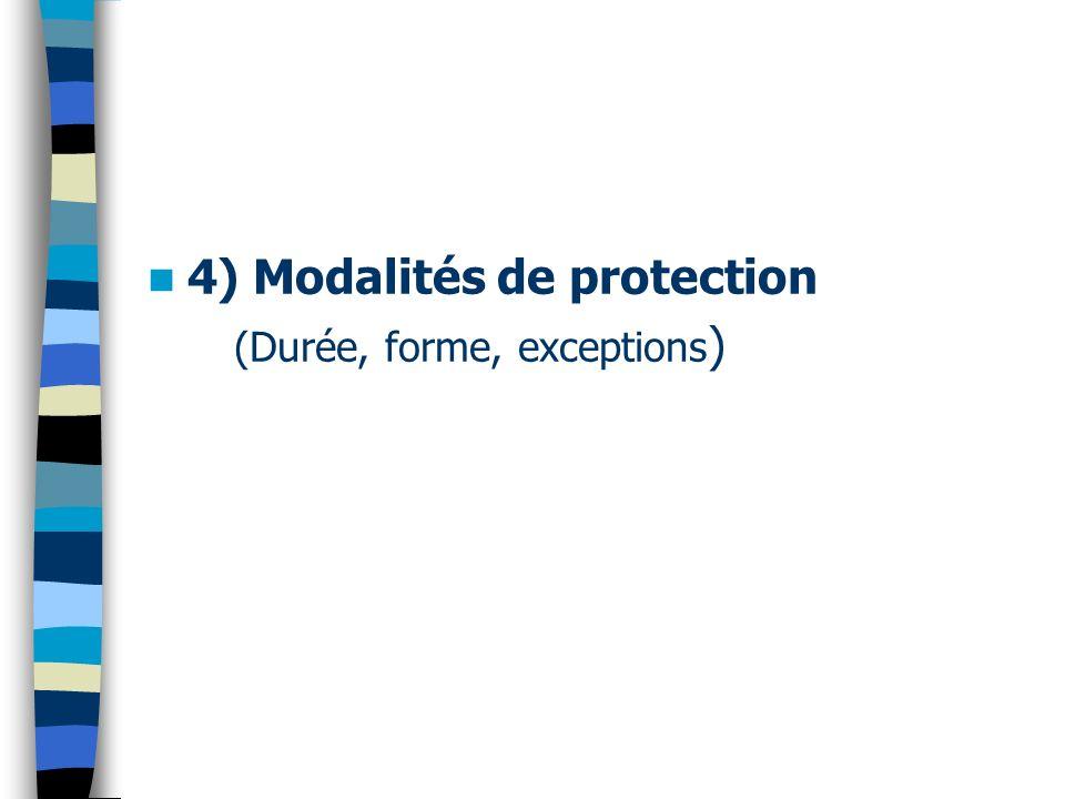 4) Modalités de protection (Durée, forme, exceptions )