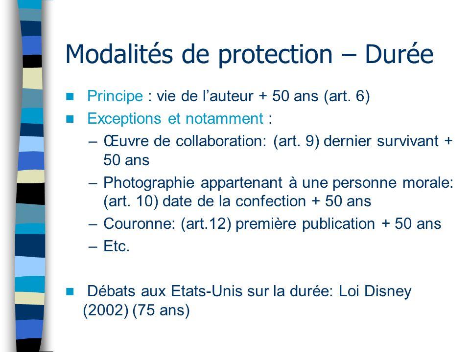 Modalités de protection – Durée Principe : vie de lauteur + 50 ans (art.