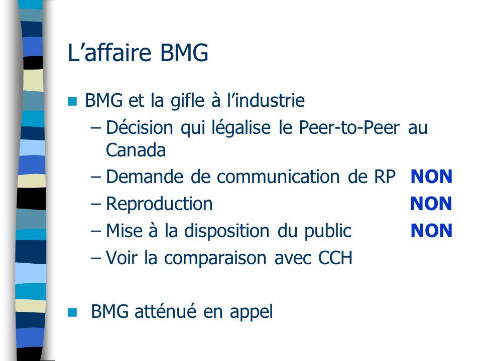 Laffaire BMG BMG et la gifle à lindustrie –Décision qui légalise le Peer-to-Peer au Canada –Demande de communication de RP NON –Reproduction NON –Mise à la disposition du public NON –Voir la comparaison avec CCH BMG atténué en appel