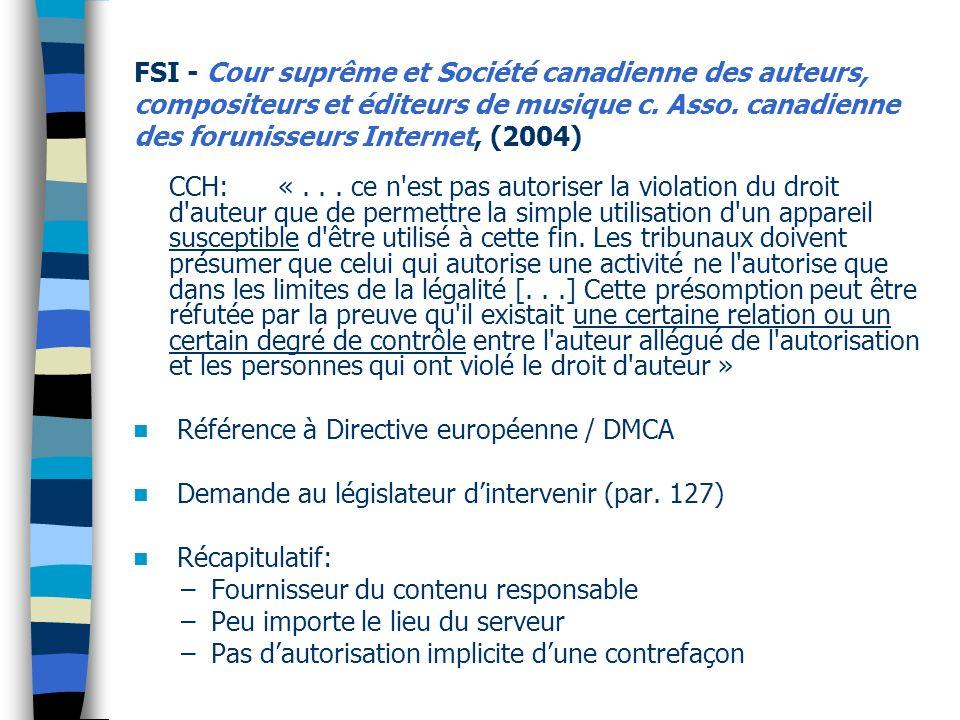 FSI - Cour suprême et Société canadienne des auteurs, compositeurs et éditeurs de musique c.