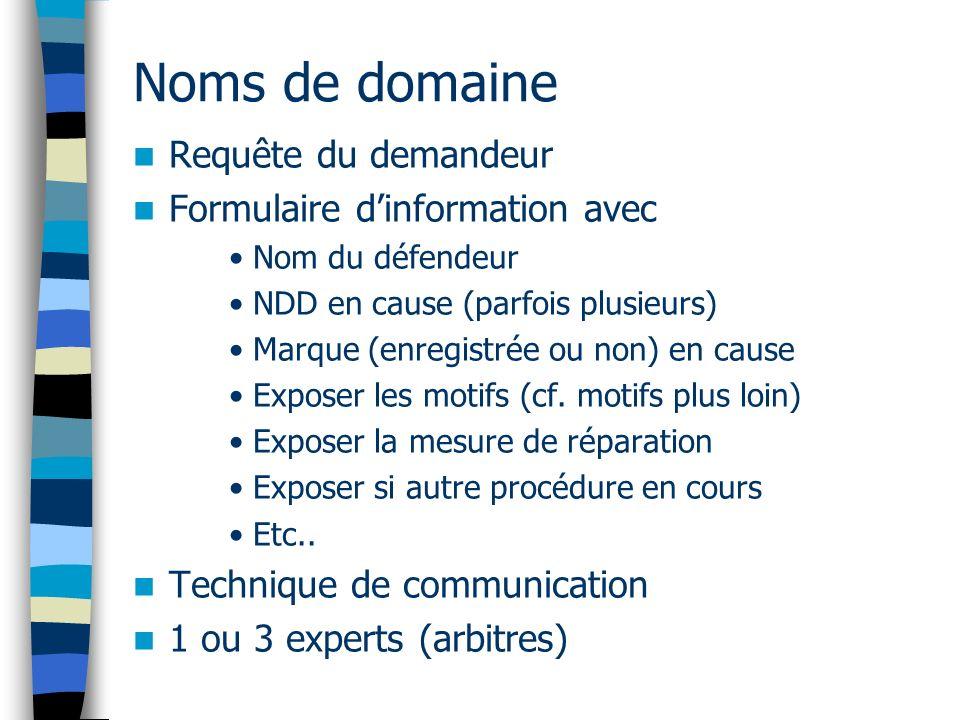 Noms de domaine Requête du demandeur Formulaire dinformation avec Nom du défendeur NDD en cause (parfois plusieurs) Marque (enregistrée ou non) en cause Exposer les motifs (cf.