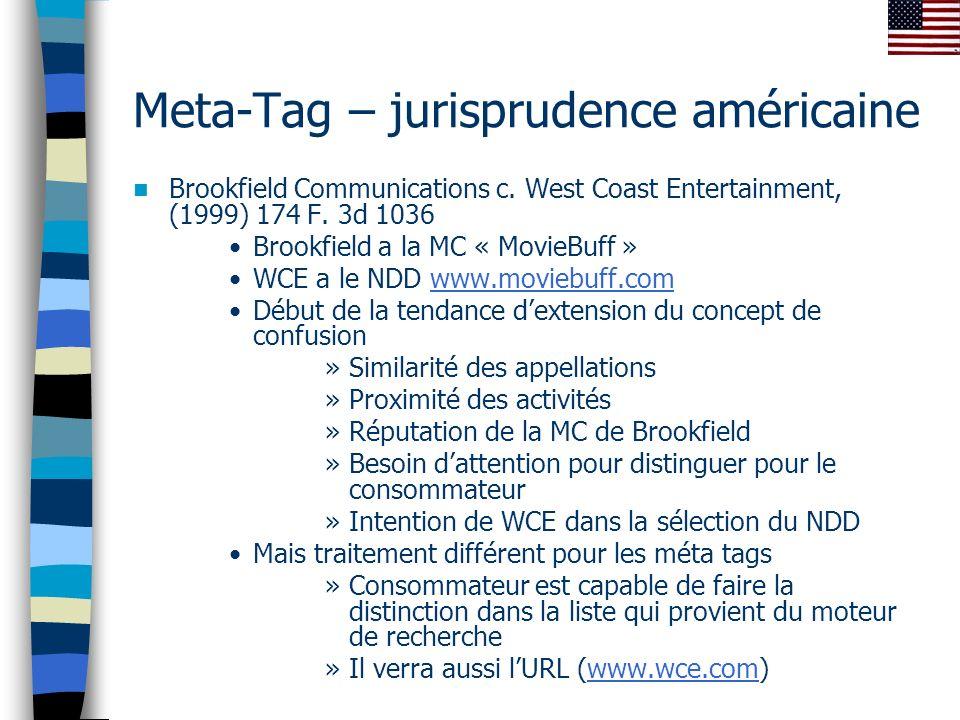 Meta-Tag – jurisprudence américaine Brookfield Communications c.