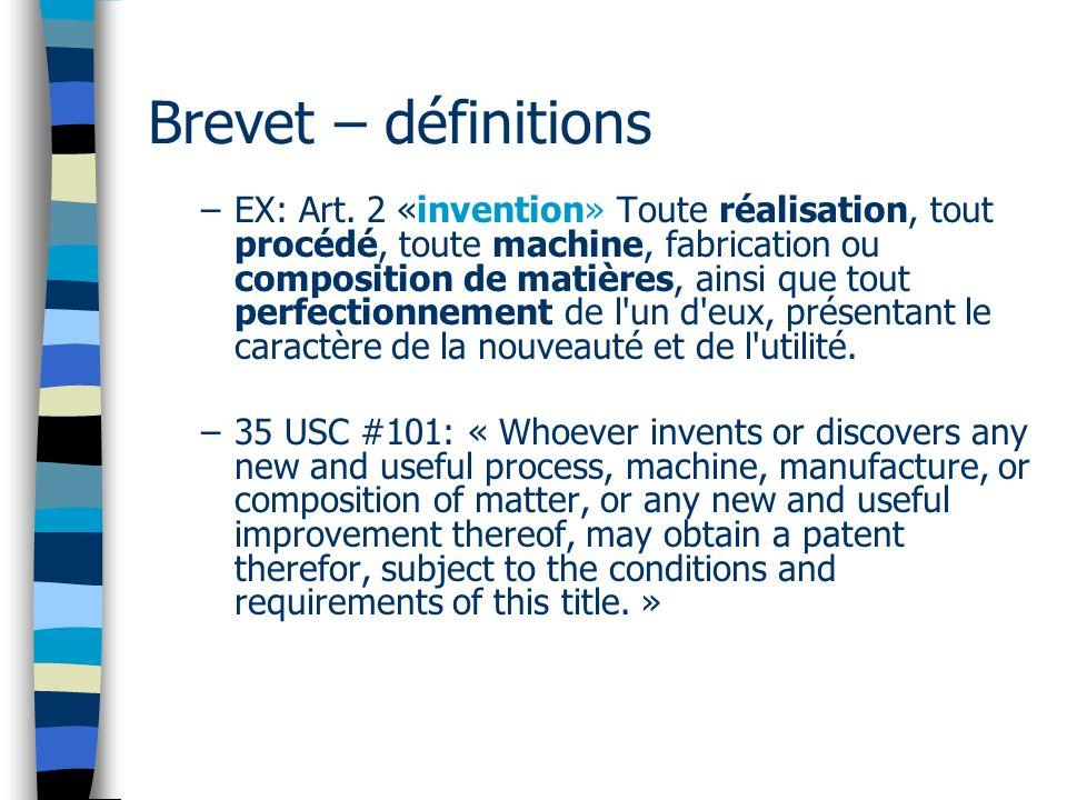 Brevet – définitions –EX: Art.
