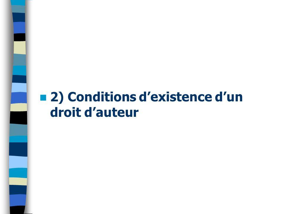 2) Conditions dexistence dun droit dauteur