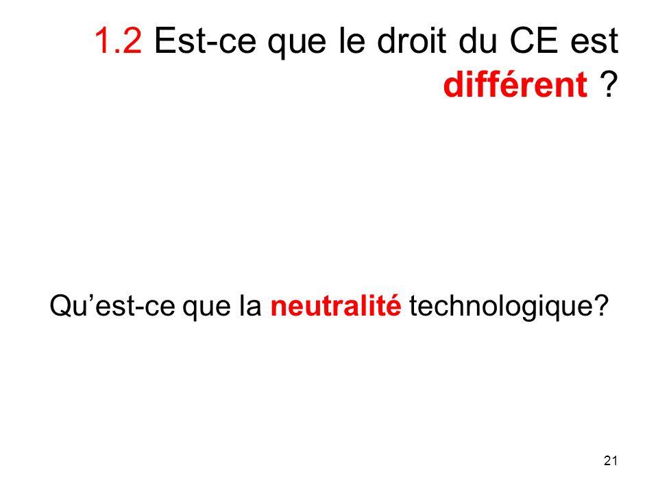 21 1.2 Est-ce que le droit du CE est différent ? Quest-ce que la neutralité technologique?