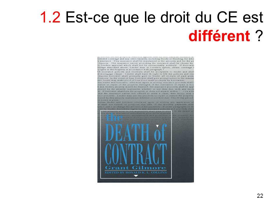 22 1.2 Est-ce que le droit du CE est différent