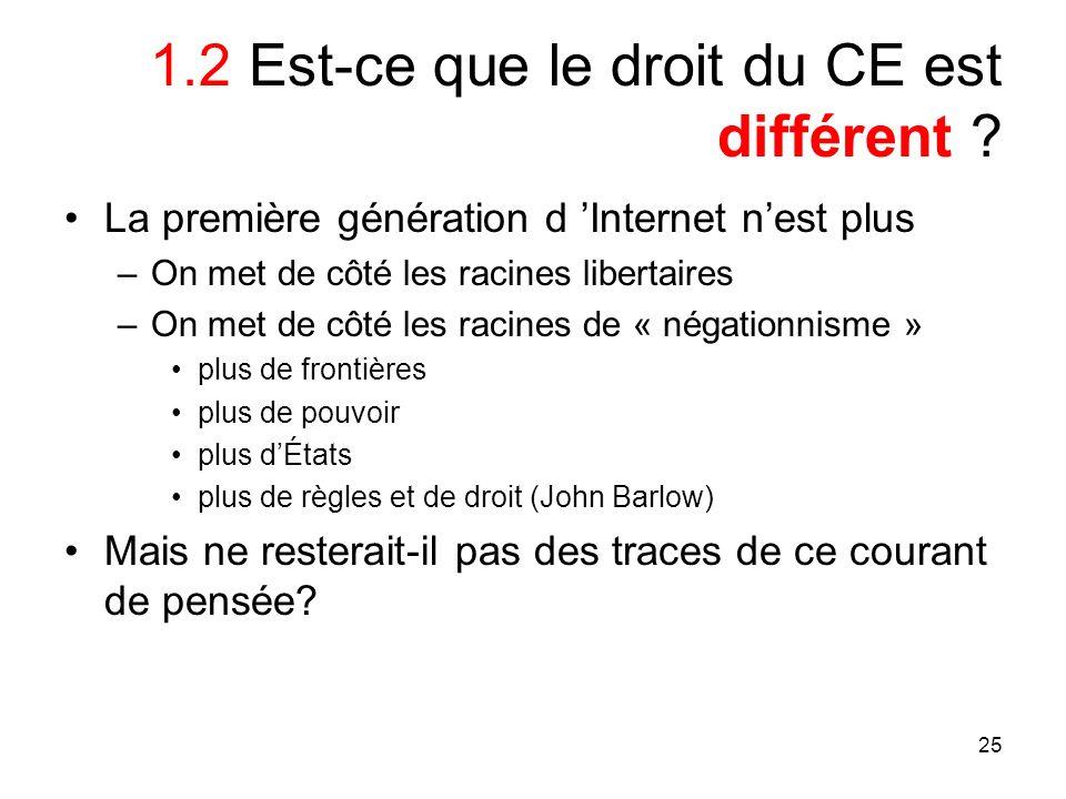 25 1.2 Est-ce que le droit du CE est différent ? La première génération d Internet nest plus –On met de côté les racines libertaires –On met de côté l