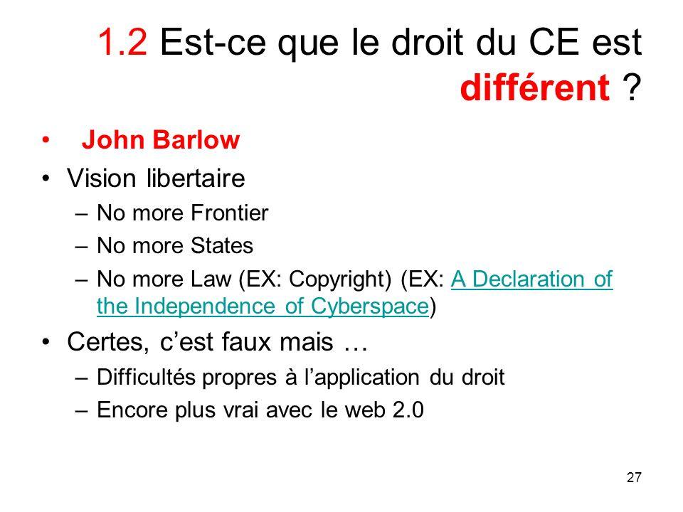 27 1.2 Est-ce que le droit du CE est différent ? John Barlow Vision libertaire –No more Frontier –No more States –No more Law (EX: Copyright) (EX: A D