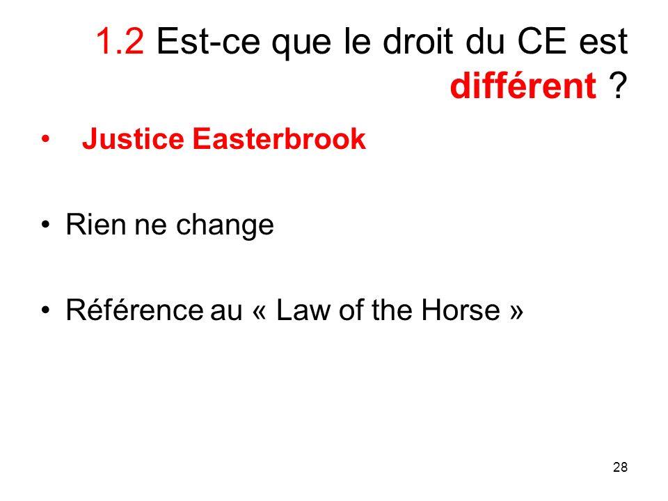 28 1.2 Est-ce que le droit du CE est différent ? Justice Easterbrook Rien ne change Référence au « Law of the Horse »