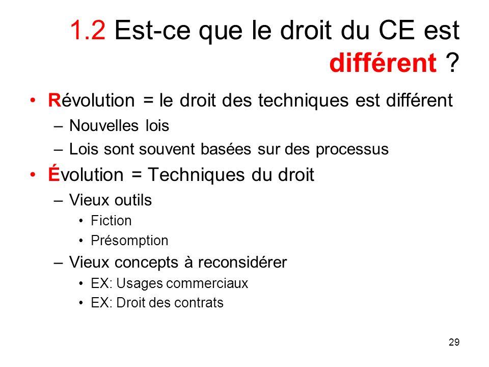 29 1.2 Est-ce que le droit du CE est différent ? Révolution = le droit des techniques est différent –Nouvelles lois –Lois sont souvent basées sur des