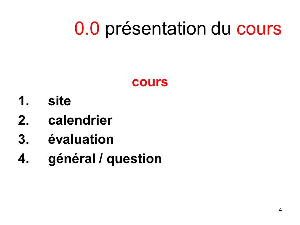 4 0.0 présentation du cours cours 1.site 2.calendrier 3.évaluation 4.général / question