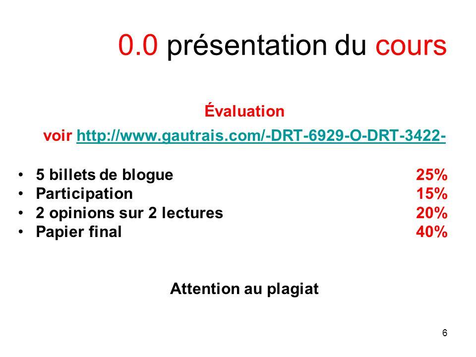 6 0.0 présentation du cours Évaluation voir http://www.gautrais.com/-DRT-6929-O-DRT-3422-http://www.gautrais.com/-DRT-6929-O-DRT-3422- 5 billets de blogue 25% Participation 15% 2 opinions sur 2 lectures 20% Papier final 40% Attention au plagiat