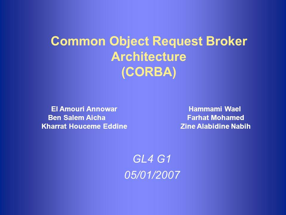 Plan 1.Introduction 2.Norme CORBA 3.Architecture CORBA n Services n Utilitaires n Interfaces de domaines n Communication 4.Langage de Définition dInterface: IDL 5.Conclusion