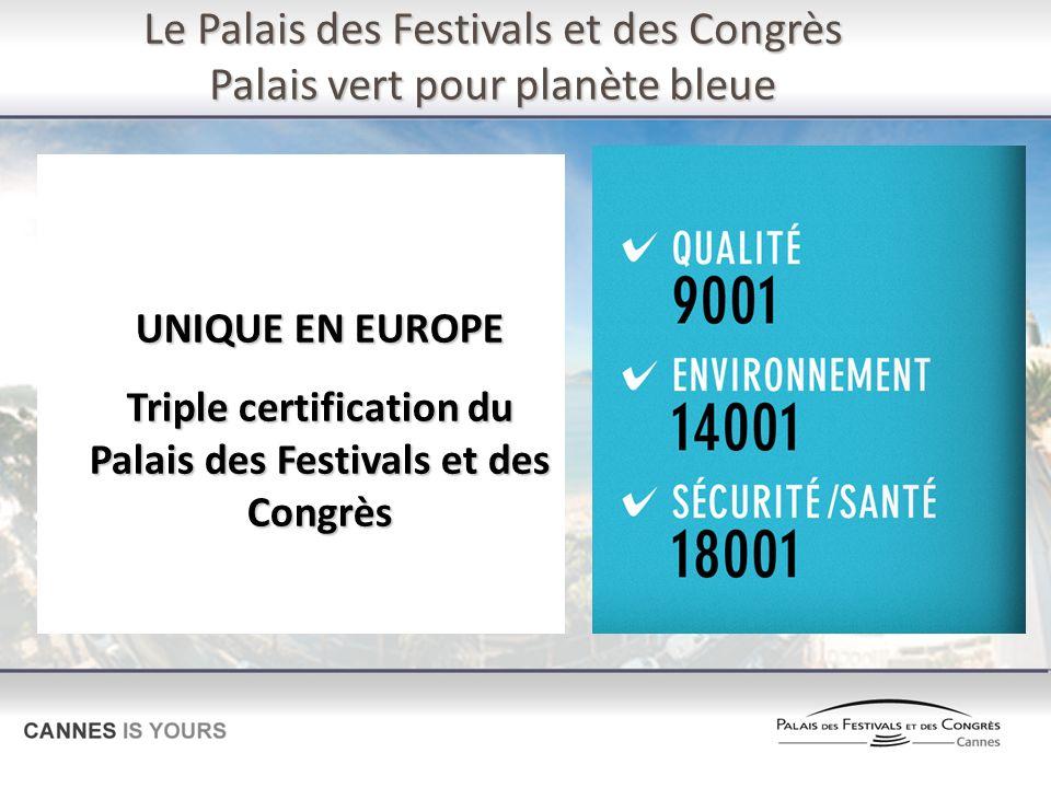 Le Palais des Festivals et des Congrès Palais vert pour planète bleue UNIQUE EN EUROPE Triple certification du Palais des Festivals et des Congrès