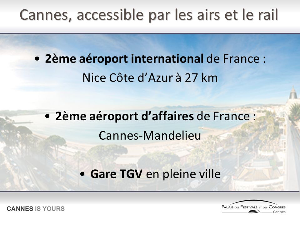 Cannes, accessible par les airs et le rail 2ème aéroport international de France : Nice Côte dAzur à 27 km 2ème aéroport daffaires de France : Cannes-Mandelieu Gare TGV en pleine ville