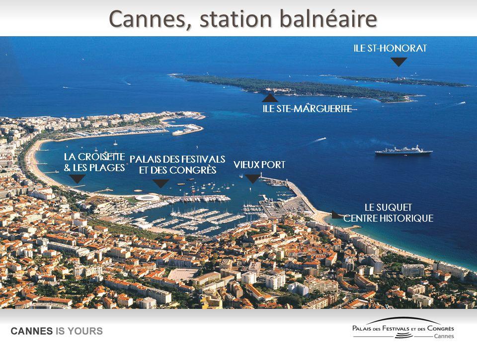 Cannes, hébergements 130 HOTELS & RESIDENCES 8 000 CHAMBRES, dont : 3 100 en 4* & 5* 2 800 en 2* & 3* 2 100 en RESIDENCE Grands groupes internationaux : Accor Barrière Concorde Intercontinental Marriott Radisson Blu Un parc hôtelier rénové à hauteur de 180 millions dEuros dinvestissements entre 2008 et 2010
