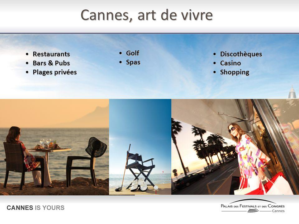 Cannes, art de vivre RestaurantsRestaurants Bars & PubsBars & Pubs Plages privéesPlages privées GolfGolf SpasSpas DiscothèquesDiscothèques CasinoCasin